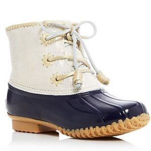 Jack Rogers Chloe Metallic leather cuff duck boots